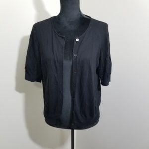 Ann Taylo Black 1/2 Sleeve Button Up Cardigan SZ L